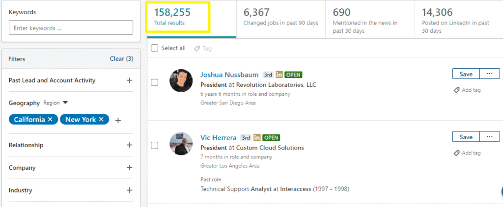 Linkedin Email Results